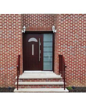 Fargo 34 - exterior front entry door Colour: mahogany; Glass type: diamond